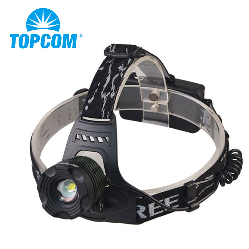 TopCom <font><b>1000</b></font> Lumens Led Headlamp Zoom Headlight XML T6 Head Torch Rechargeable Flashlight Waterproof Fishing Hunting Head Lamp us image