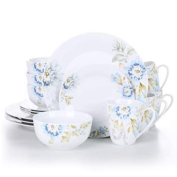 VEWEET MONTANA 16-Piece Porcelain Ceramic Tableware Dinnerware Set with 4*Dinner Plate,Dessert Plate,Cereal Bowl,380ML Mug Set