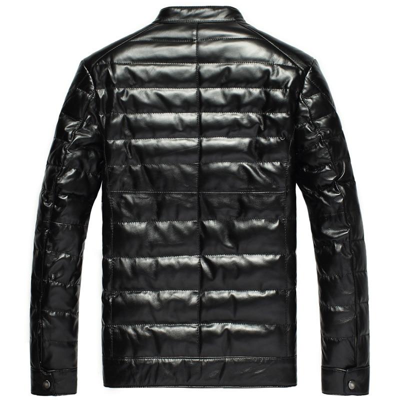 Men's Leather Jacket Winter Sheepskin Coat Men Genuine Leather Jacket Stand Collar Warm Down Jackets DK033 YY281
