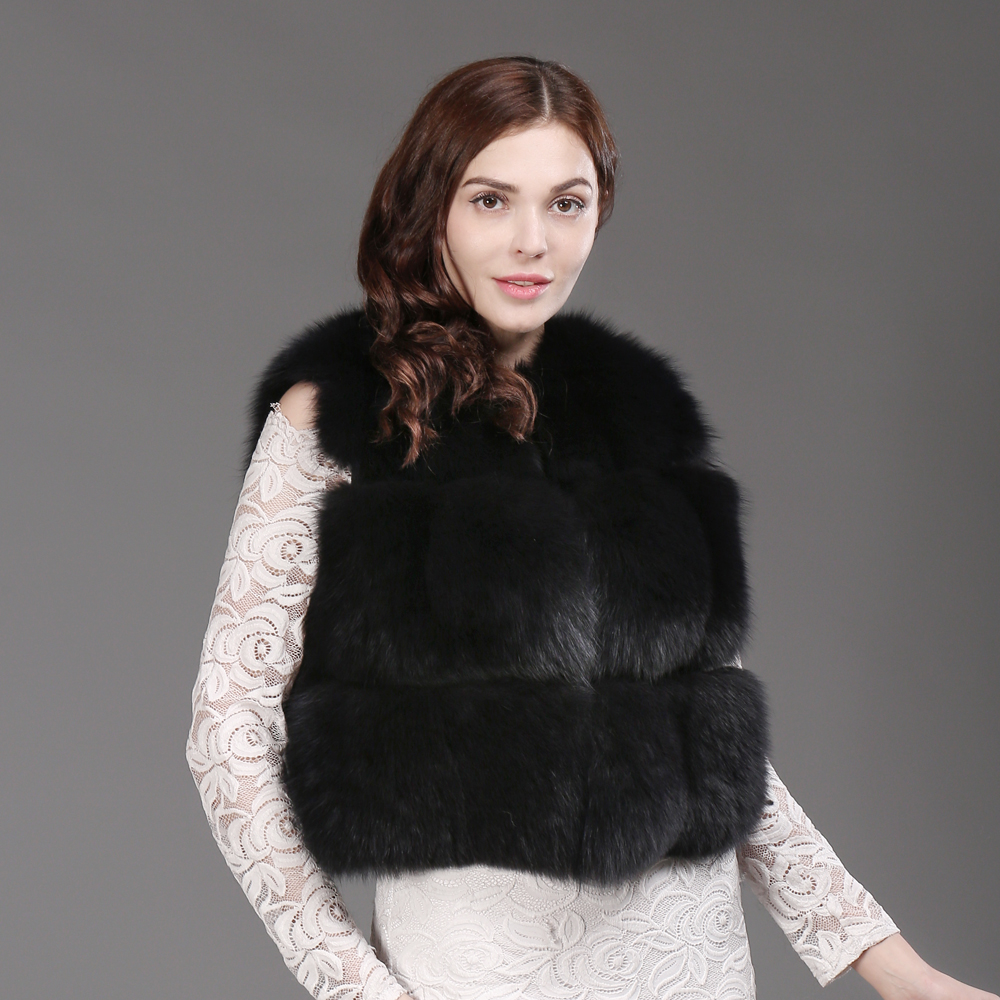 Mulheres Moda Real Fox Fur Vest 100% Natural Fox Fur Colete Macio 2019 Novo Outono Inverno Quente Senhora Curto Genuína colete de Pele De raposa - 3