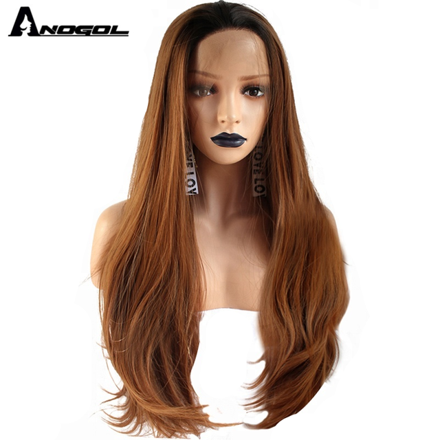 Anogol Brand Dark Roots Ombre Brown Synthetic Lace Front Wigs Long Straight Heat Resistant Fiber Wigs for Women Daily Use