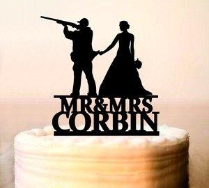 Tort weselny Topper z bronią, HUNTER Topper tort weselny, Topper tort weselny, Gunsters ślub, sylwetka Topper, polowanie jest