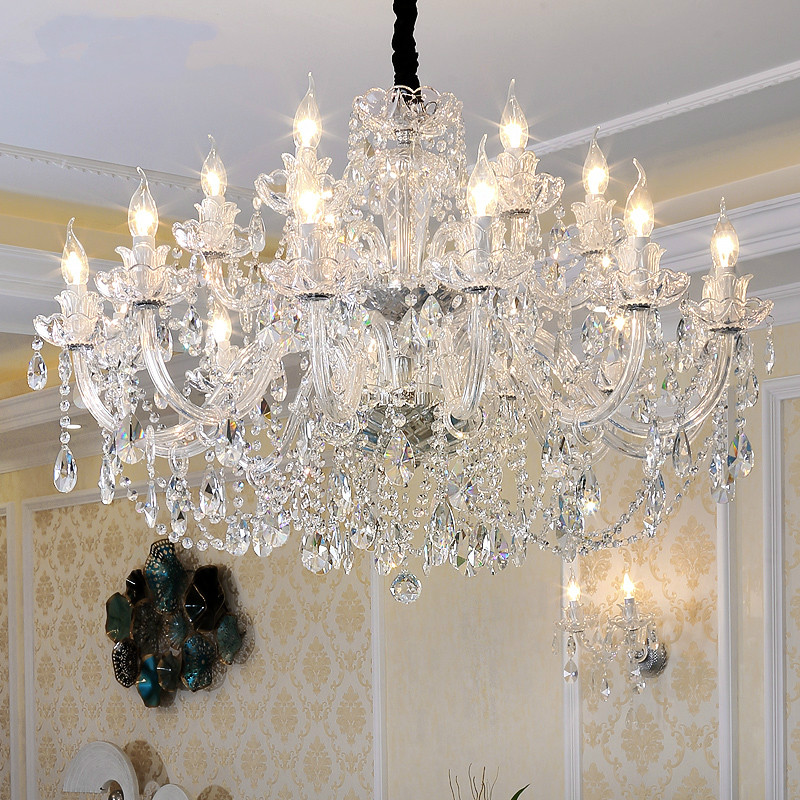 Free Shipping Crystal Chandelier Silver Clear K9 Crystal Chandelier Clear Hanging Lights Fixture Wedding Decoration Pendant Lamp