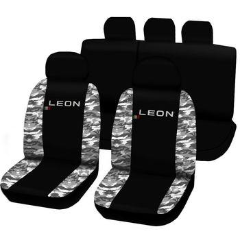 FUNDAS PARA accesorios COCHE asiento León 3a Ser. 12 camisas BICOLOR NEGRO...