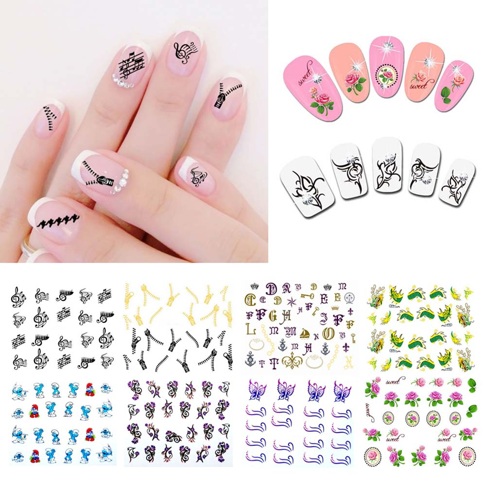 Us 029 Water Transfer Nail Art Stickers Decal Cute Elegant Black Musical Notes Design Decoration Diy French Manicure In Stickers Decals From