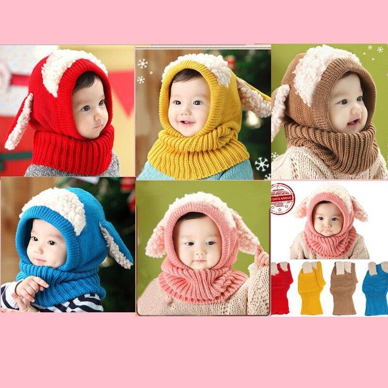 Winter Baby Kids Fashion Hat Girls Boys Warm Woolen Coif Hood Scarf Caps Hats