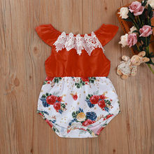 Summer small fresh climbing suit baby girl red rose flower print hakama red baby romper Fashion the new для новорожденных 50*(China)