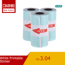 White Printable Sticker Paper Roll Direct Thermal Paper with Self-adhesive 57*30mm(2.17*1.18in) for PeriPage A6 Pocket  3 Rolls