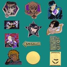 Jojos lapela esmalte pinos coletar filmes anime metal cartoon broche emblemas mochila colar enfeitar masculino moda jóias presentes