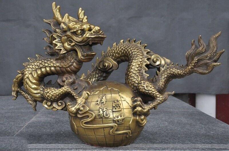 Wedding Decoration China Feng Shui Bronze Brass Auspicious Lucky Zodiac Animal Dragon Loong Statue