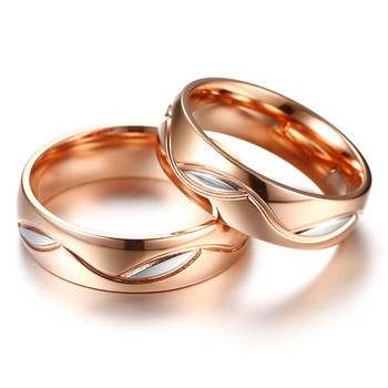 18k Rose Gold 2 colors titanium stainless steel zircon Wedding Band Set 4