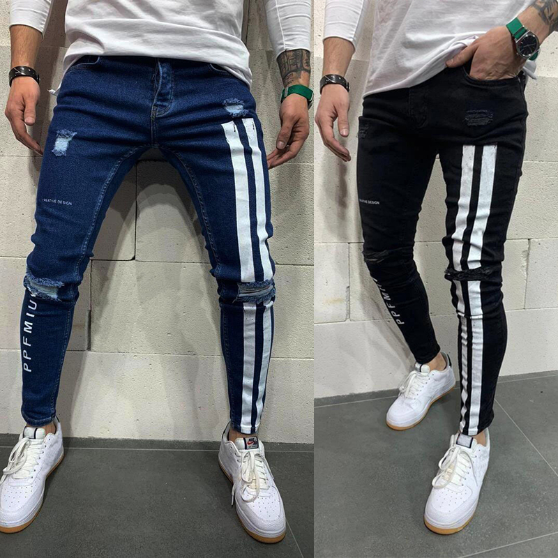 Men's Skinny Jeans Side Striped Ripped Frayed Slim Fit Denim Pencil Pants Hip Hop Streetwear Letter Printed Casual Jean Trousers