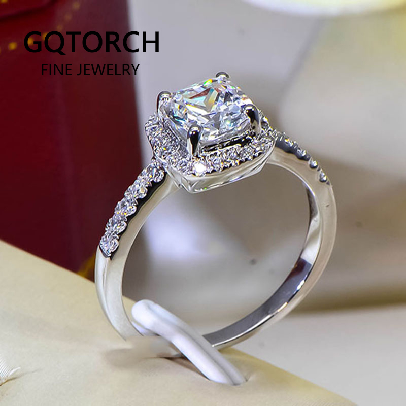Cushion 2 Carat Imitation Diamonds Engagement Ring Princess Cut