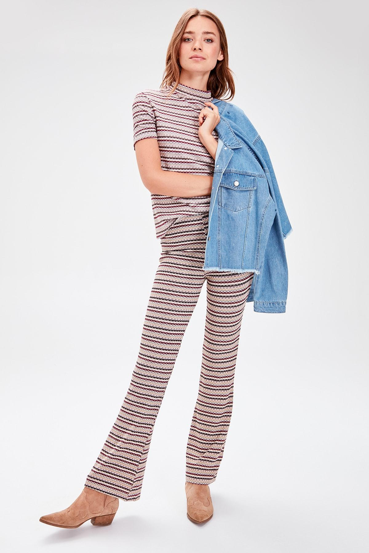 Trendyol Multicolour Striped Textured Knit Pants TWOAW20PL0287