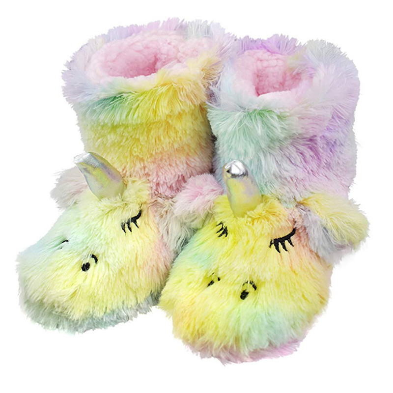 Fashion Kids Fur Boots Cartoon Unicorn Style Warm Boots Shoes For 3-13years Child Boys Girls Warm Slippers Boots Shoes