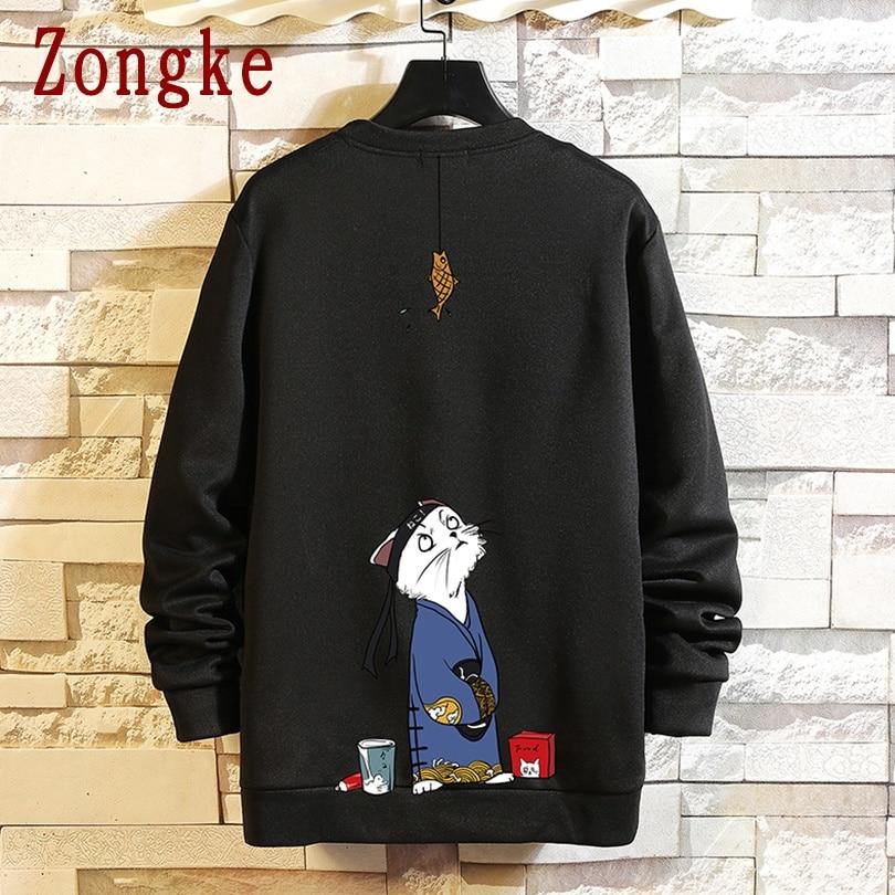 Zongke 2020 New Spring Cat Print Pullover Sweatshirt Men Hip Hop Fashion Japanese Men Sweatshirt Male Streetwear Brand M-5XL