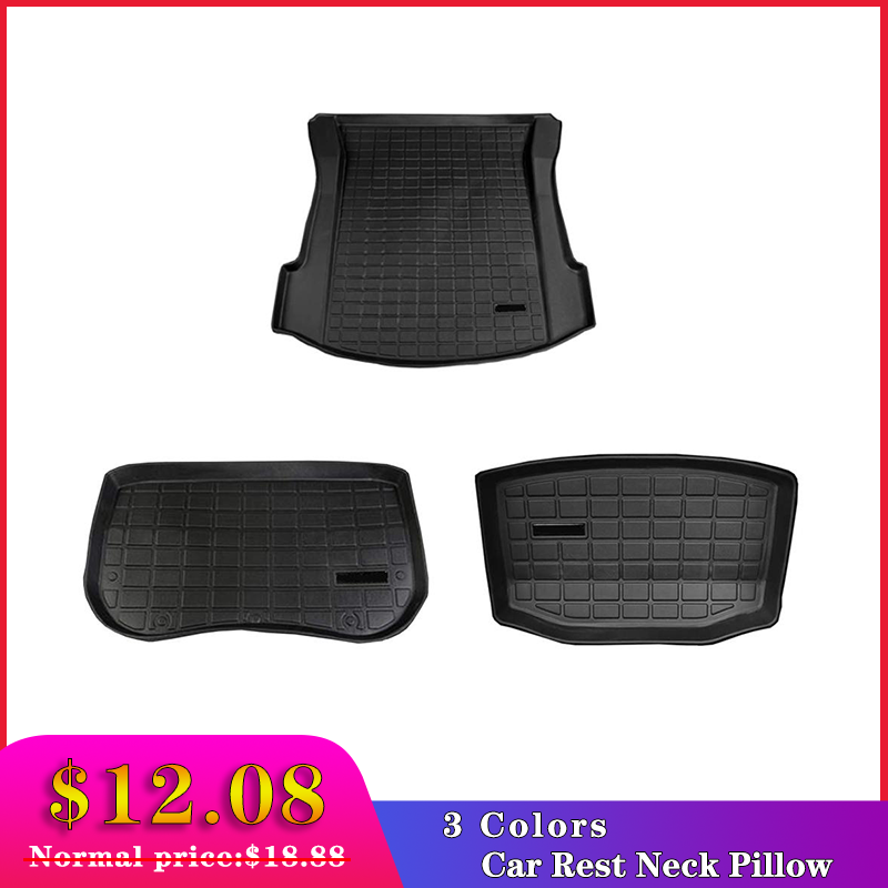 Black Trunk Mats Car Rear Trunk Storage Mat Cargo Tray Trunk Waterproof Protective Pads Mat Compatible For Tesla Model 3