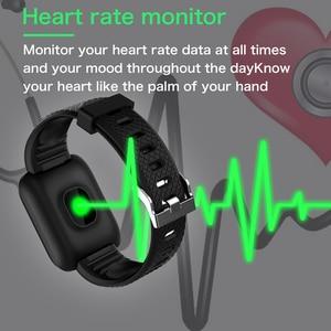 Image 5 - D13 inteligentny zegarek 116 Plus zegarek mierzący uderzenia serca nadgarstek zegarki sportowe inteligentny zespół ciśnienia krwi wodoodporny Smartwatch Android A2