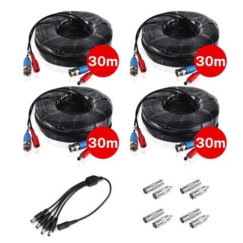 4 pces 30 m 100ft bnc dc plug cabo de alimentacao de video com 1