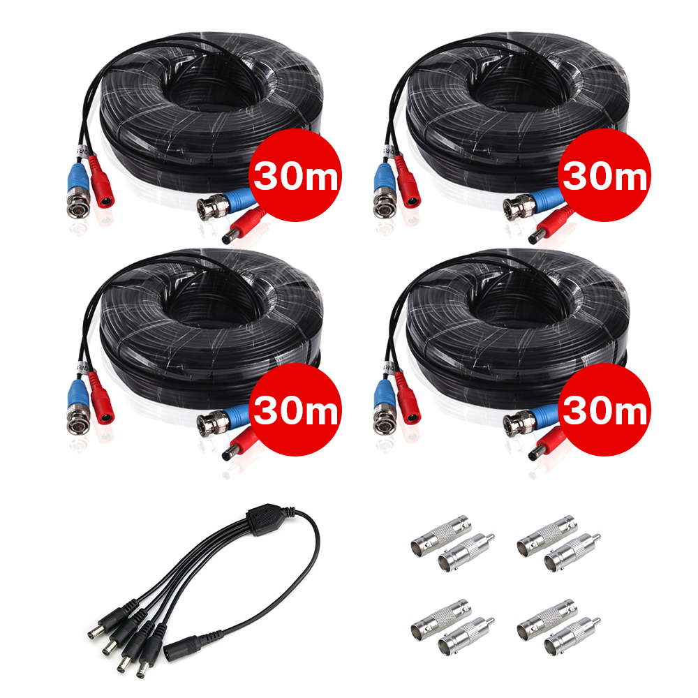 4PCS 30m/100ft BNC&DC Plug Video Power Cable With 1pcs 4-in-1 Power Splitter Cable For AHD Video Surveillance System Accessories