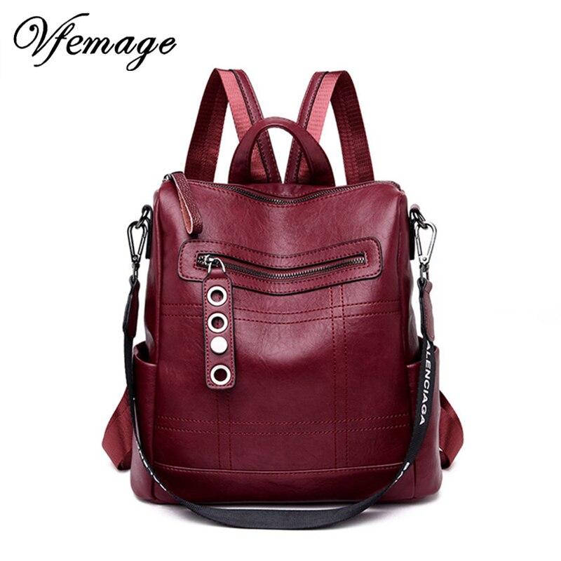 Vfemage Designer Women Backpack Leather Female Backpack School Bags For Teenager Girls  Travel Backbag Retro Bagpack Sac A Dos