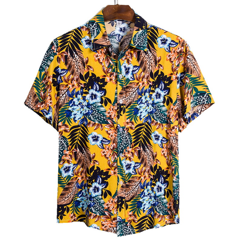 DIHOPE 2020 Quality Harajuku Beach Shirt Men Short Sleeve Hawaiian Shirt Casual Summer Floral Print Men Blouse Loose Surfing