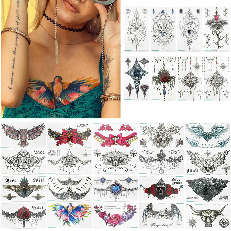 28Pcs Mandala Temporary Tattoo Large Henna Arabic Underboob Back Chest Body Art Womens