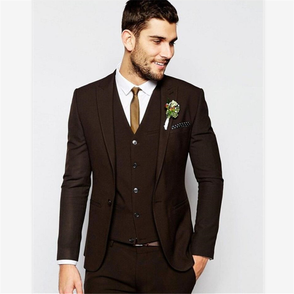 New Men's Suit Smolking Noivo Terno Slim Fit Easculino Evening Suits For Men Dark Brown Wedding Peaked Lapel Groom Blazer  Tuxed