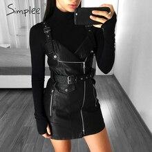 Simplee PU leather women dress V neck mini sexy dress Christmas sash zipper autumn winter short dress sundress vestido