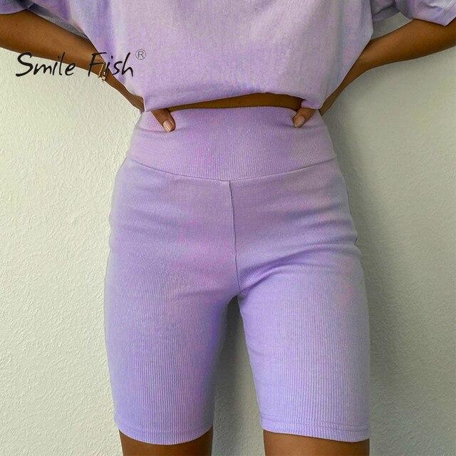 Solid Women Summer Cycling Bike Shorts Stretch Basic Short Black Female Pantalones Sweatpants Strike Bodycon Streetwear G1946 1