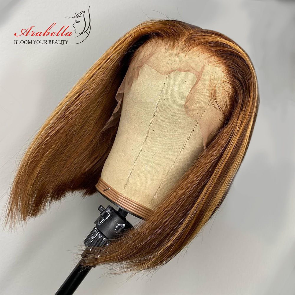 Highlight Bob Ombre Brown Honey Blonde Lace Front Wig  Hair PrePlucked Bob Wig 100%  Arabella Straight Closure Wig 1