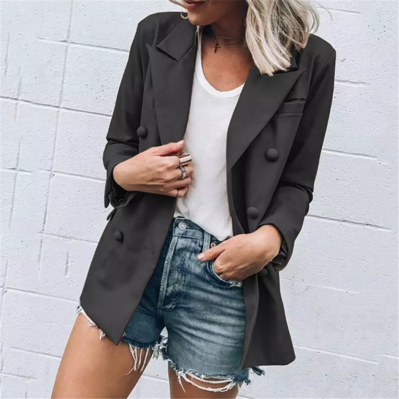 Autumn New Women Elegant Blazer Buttons Design Fashion Office Lady Solid Color Long Sleeve Suit Coat Outerwear Tops