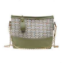 купить New Korean all-purpose Single shoulder bag 2019 fashion woven+PU cross-body bag 4 Color bags woven strawbag straw bag women по цене 1117 рублей