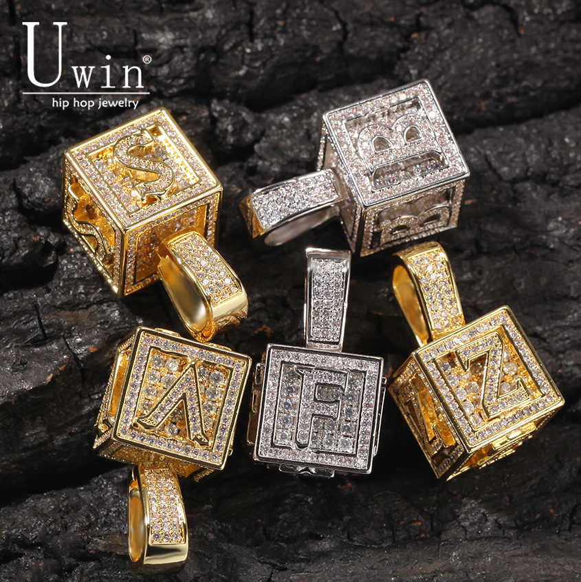 Uwin Custom Block Letter Square Alphabet  Baby Letter Initial AAA Zircon Pendant Chain Hip Hop Fashion  Necklace Jewelry Gift