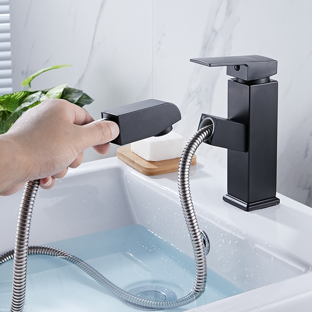 Bathroom Basin Copper Faucet Pull Out Sink Faucets Hot and Cold Water Mixer Crane Square Basin Sink Taps Chrome Finished ELB90