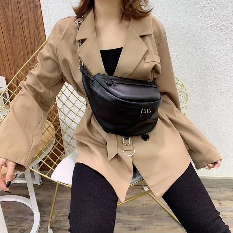Women's Waist Bag Pure Black PU Leather Metal Buckle Sum Per Band Fanny Pack Bananka Fashion Wild Satchel Belly Band Belt Bag