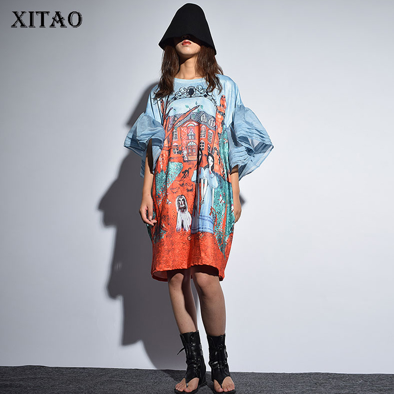 [XITAO] Autumn Korea Fashion New 2018 O-neck Full Sleeve Loose Dress Female Half Sleeve Ruffles Cartoon Above Knee Dress KZH432