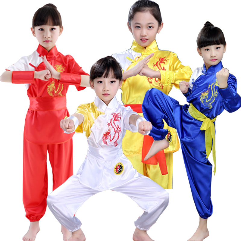 2019 Chinese Style Cotton Wushu Kung Fu Clothing Kids Martial Arts Wing Chun Suit Embroidery Performance Stage Clothes Set