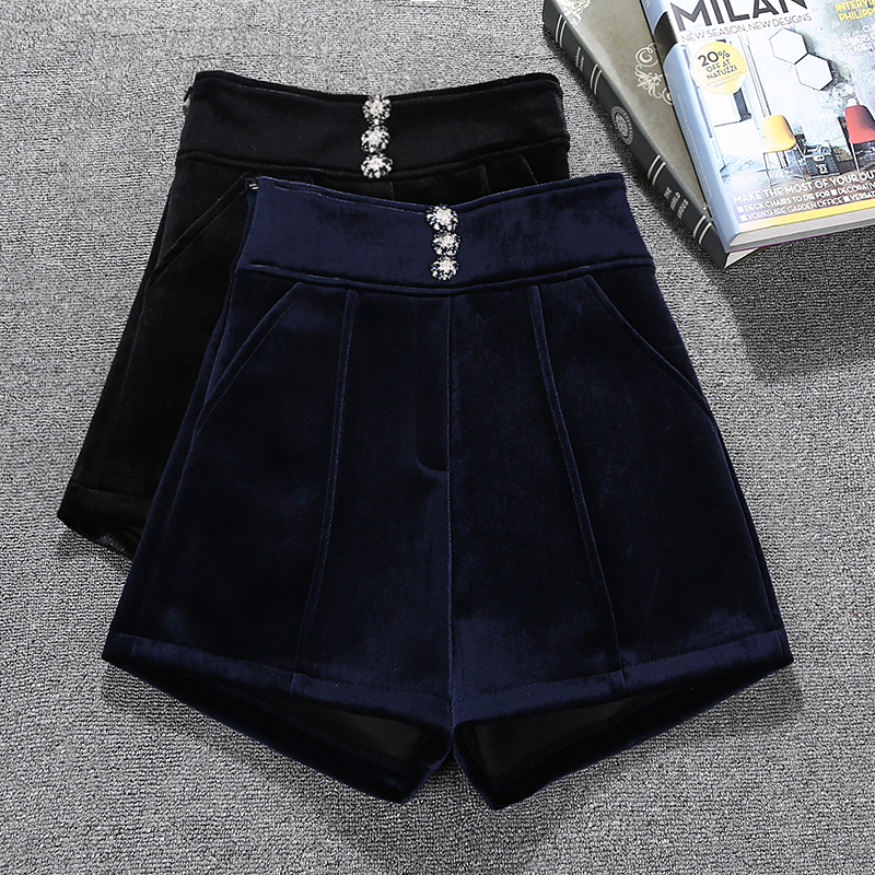 High Quality Autumn Winter Velvet Shorts Women High Waist Korean Style Wide Leg Shorts Ladies Office Work Booty Shorts Feminino