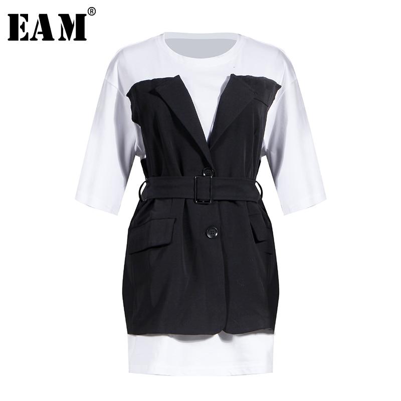 [EAM] Women White Split Joint False Two Bandage Big Size T-shirt New Round Neck Short Sleeve  Fashion Spring Summer 2020 1W021