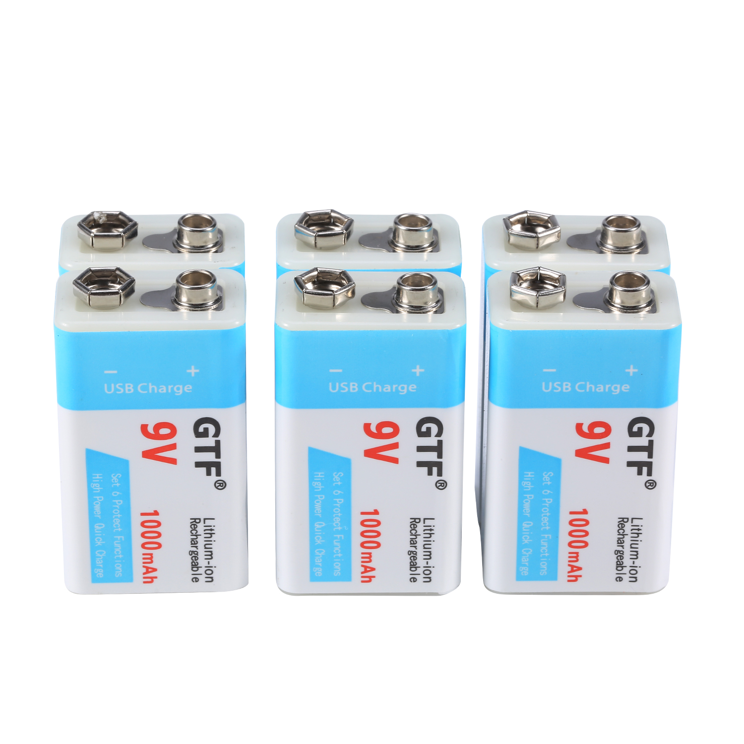 GTF USB Charging 9V 500mAh Li-ion Battery USB Rechargeable Battery 9v Lithium For Multimeter Microphone Toy Remote Control KTV U