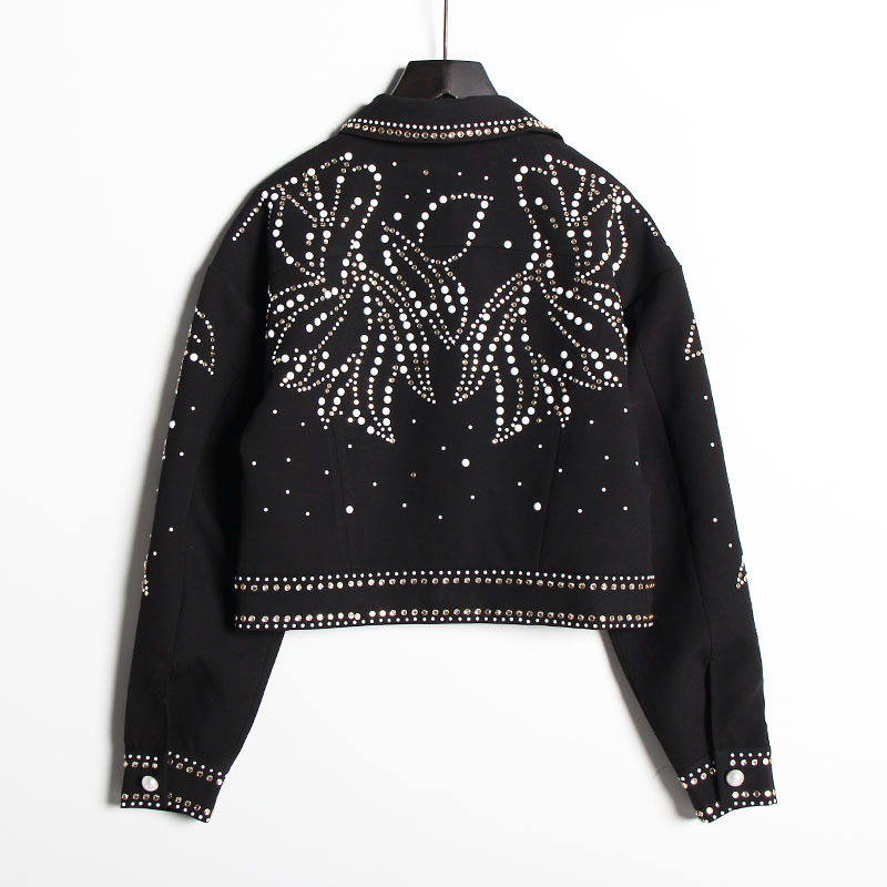 Europäischen Luxus Blatt Diamanten Niet Mantel Frauen 2019 Herbst Mode Streetwear drehen unten Kragen Langarm Schwarz denim jacke - 5