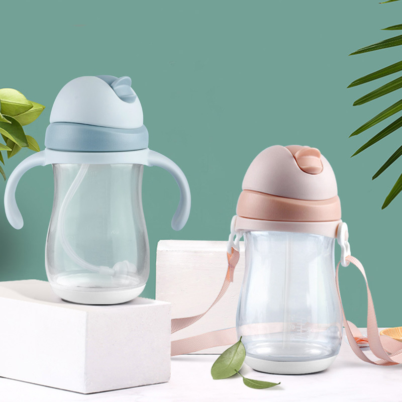 240/300ml Baby Bottle Baby Feeding Cup Silicone BPA Free Cute Rabbite Children Learn Feeding Drinking Handle Kids Water Bottles
