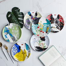 Traditional Chinese Cheongsam Pattern Dinner Plates Creative Home Decor Ceramic Food Plate Elegant Food Round Dishes