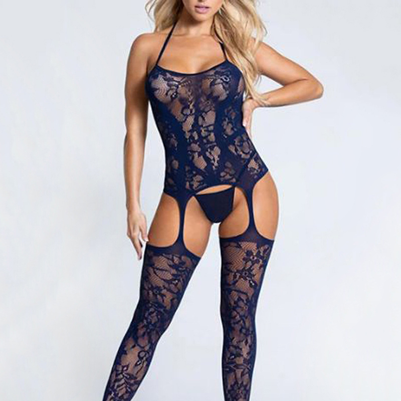 Sexy Lingerie Lace Printed Halter Backless Open Crotch Sexy Hose Bodystocking Pajamas Tempting Mature Lady Lingeries New Style