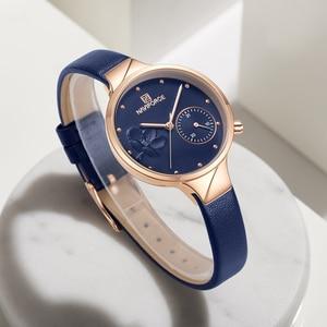Image 4 - NAVIFORCE Women Fashion Blue Quartz Watch Lady Leather Watchband High Quality Casual Waterproof Wristwatch Gift for Wife 2019