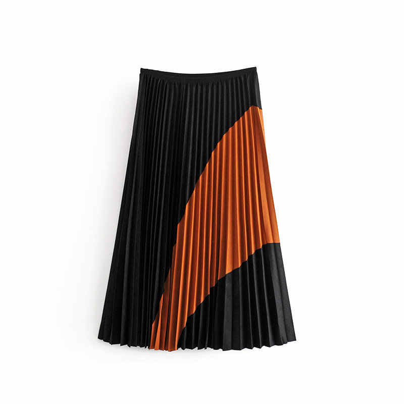 Pleated Skirts Autumn Winter 2019 Faux Suede Skirts Colorblock Lady Elegant Streetwear High Waist Faldas