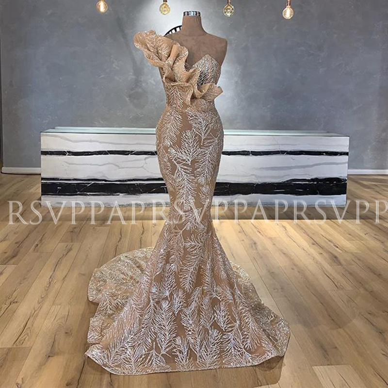 Long Evening Dresses 2020 Sexy Mermaid One Shoulder Glitter Sparkly Arabic Dubai Real Sample Champagne Formal Evening Gowns