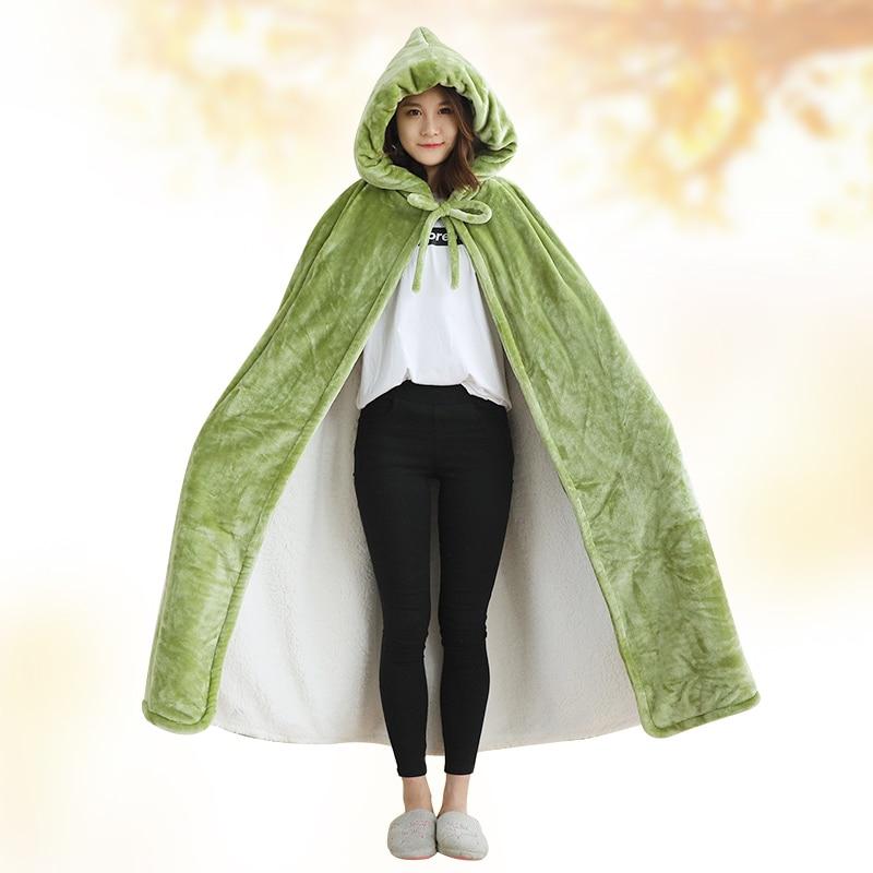 Одеяло с капюшоном, зимнее уплотненное Коралловое флисовое носимое одеяло, накидка, многофункциональная шаль, накидка, высокое качество, одеяло для ленивых - 2