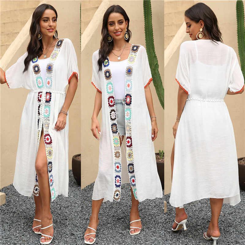 Beach Long Dress Cardigan Cover Up Women 2020 Summer Sortie De Plage Femme Beachwear Robe Crochet Flower Bikini Swimsuit Dresses Aliexpress